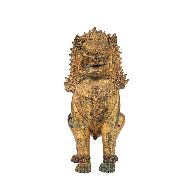 Asian Antique Cambodian Gilt Bronzed Foo Dogs - A Pair For Sale - Image 3 of 8