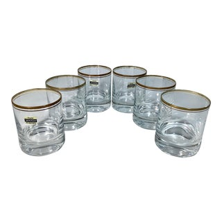 Mikasa Wheaton Full Lead Crystal Cocktail Old Fashioned Glasses With Gold Rim - Set of 6 For Sale