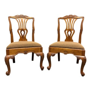 Hekman Marsala French Country Oak Dining Side Chairs - Pair 1 For Sale