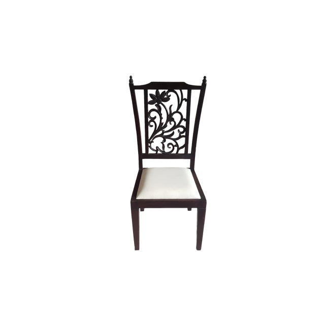 Teak Wood Carved Back Dining Chairs - Set of 6 - Image 2 of 5