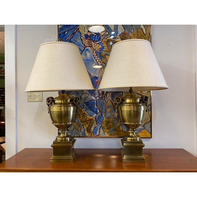 1970s Pair of 1970s Chapman Manufacturing Vintage Brass Lamps For Sale - Image 5 of 13