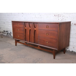 Broyhill Brasilia Mid-Century Modern Sculpted Walnut Triple Dresser or Credenza, 1960s Preview