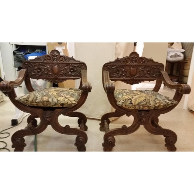 Green Savonarola Antique Chairs - a Pair For Sale - Image 8 of 8