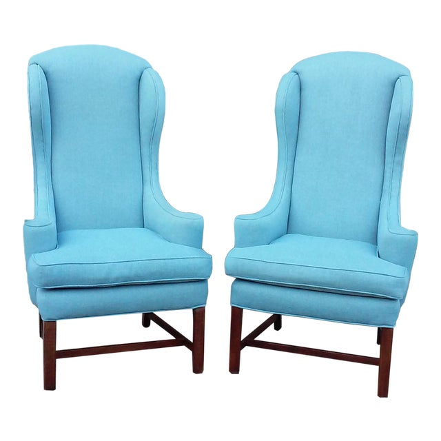 Mid Century High Back Wing Arm Chairs-A Pair For Sale