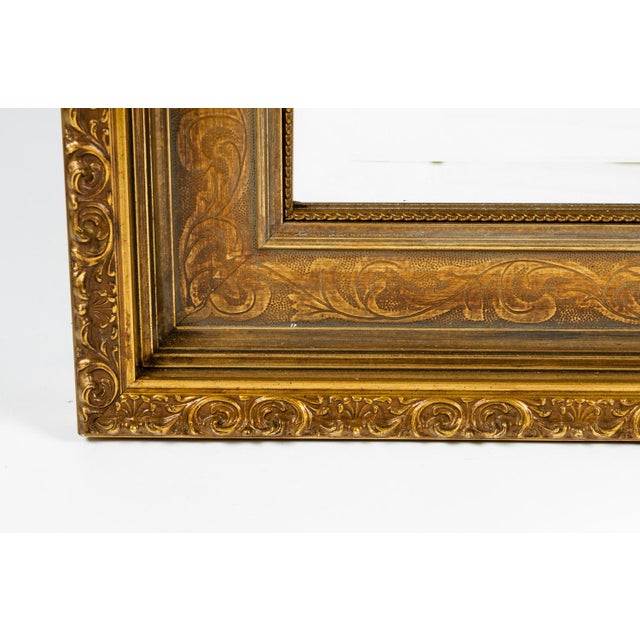 Vintage Gilded Wood Framed Hanging Wall Mirror For Sale - Image 4 of 10