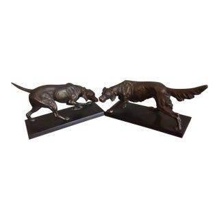 Vintage Bronze Cast Iron Setter Bookends - a Pair