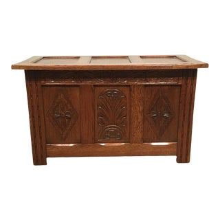1960s Vintage Carved Oak Coffer For Sale