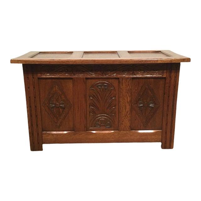 1960s Vintage Carved Oak Coffer For Sale