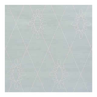 Sample - Schumacher Sylvie Embroidered Sisal Wallpaper in Water Blue For Sale