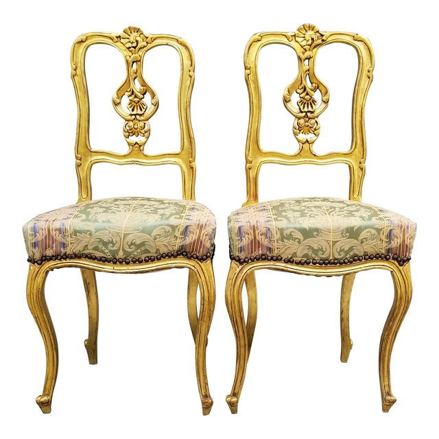 Antique French Louis XV Style Rococo Giltwood Parlor Chairs-A Pair For Sale - Antique French Louis XV Style Rococo Giltwood Parlor Chairs-A Pair