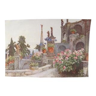 1905 Original Italian Print - Italian Travel Colour Plate - in the Garden, Isola Bella, Lago Maggiore For Sale