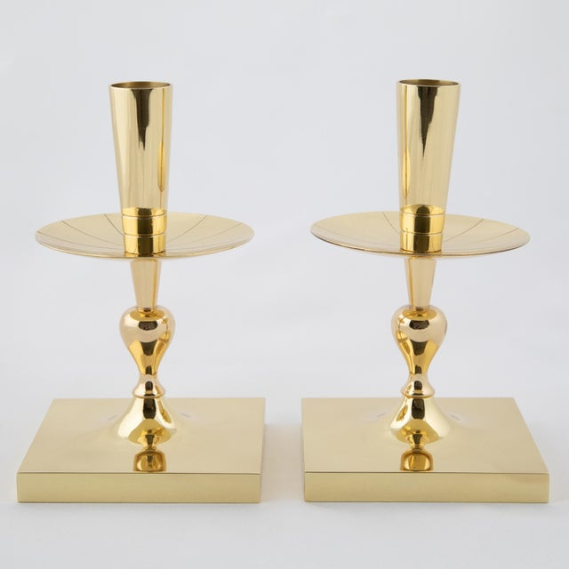 Mid-Century Modern 1950's Tommi Parzinger Brass Candle Holders- A Pair For Sale - Image 3 of 6