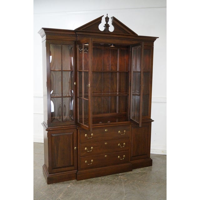 Ethan Allen Georgian Court Solid Cherry Chippendale Style Breakfront - Image 7 of 10
