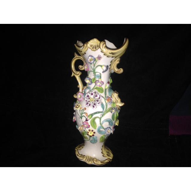Antique Pastel Floral Porcelain Vase For Sale - Image 4 of 11