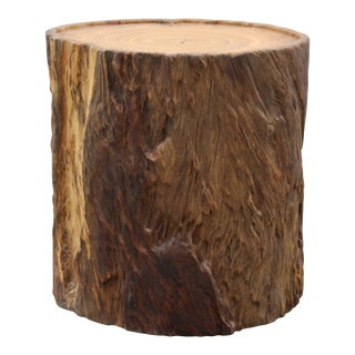 Chinese Natural Camphor Thick Wood Stem Rough Stool Table For Sale