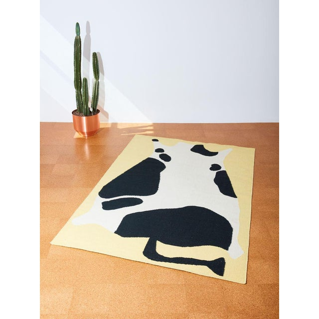 2010s Cold Picnic Cow Flate Weave Rug - 6′ × 9′ For Sale - Image 5 of 5
