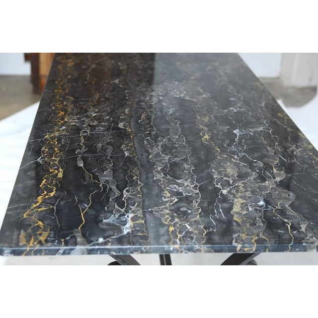 Italian Wrought Iron and Black Marble Dining Table For Sale - Image 5 of 10