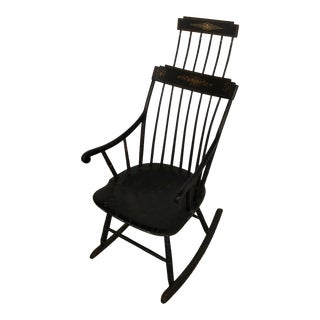 19th Century Americana Black Comb Back Windsor Rocker