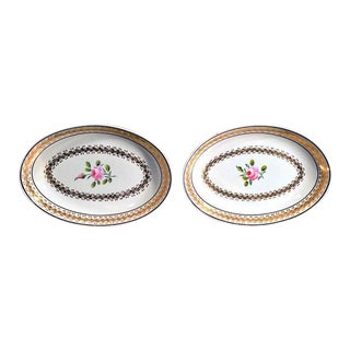 Neale & Co. Creamware Oval Botanical Dishes - A Pair For Sale