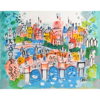 Charles Cobelle - Paris and the Seine River Acrylic on Canvas For Sale