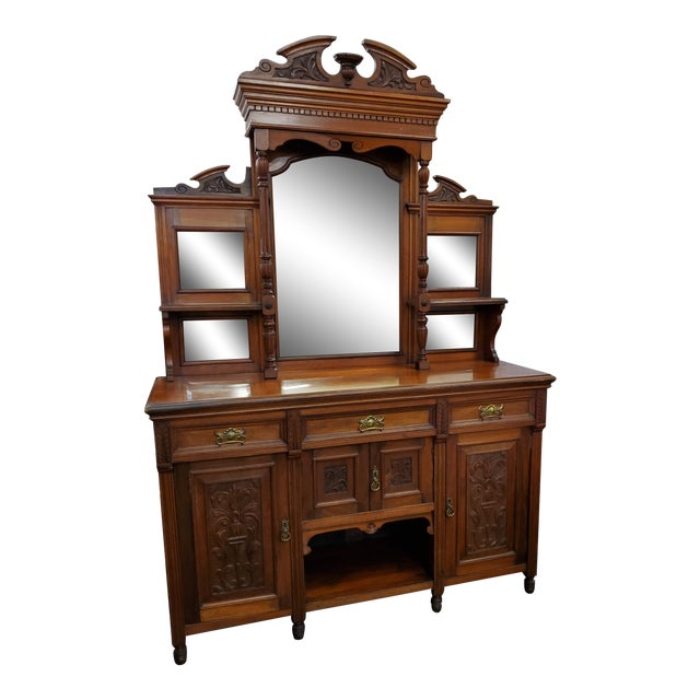 Early 20th Century Antique Hutch With Beveled Mirrors For Sale