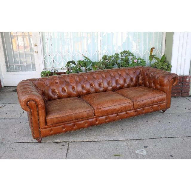 Brown Modern Distressed Leather Tufted Chesterfield Sofa For Sale - Image 8 of 13