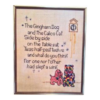 Mid Century Nursery Rhyme Cross Stitch For Sale