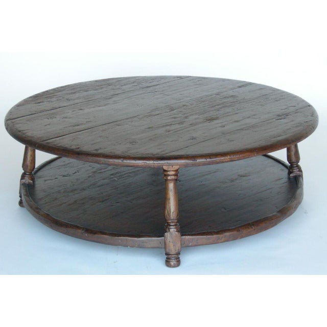 Custom Round Walnut Wood Coffee Table With Shelf For Sale - Image 4 of 10