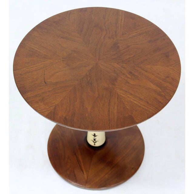 Lacquer Mid-Century Modern Solid Walnut Weighted Base Round Side Table For Sale - Image 7 of 10