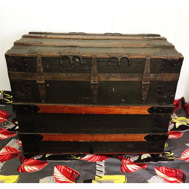 Antique Wood Steamer Trunk with Key - Image 9 of 10