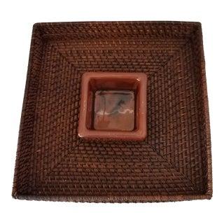 Crate & Barrel Wicker Chip N Dip Serving Platter For Sale