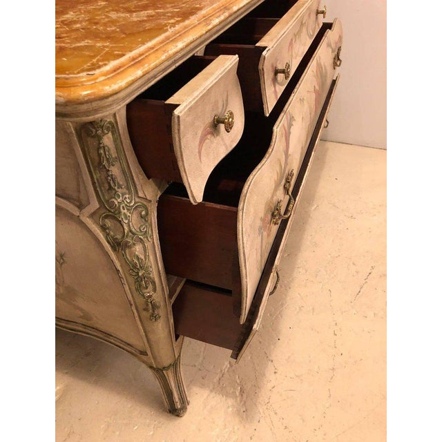Venetian Scenic Bombe Chinoiserie Painted Commode with a Faux Marble Top For Sale In New York - Image 6 of 11
