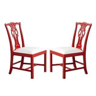 1980s Vintage Chippendale Accent Side Chairs - a Pair For Sale