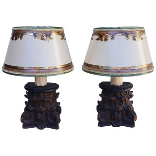 Pair of Petite Capital Lamps W/ Parchment Shades For Sale