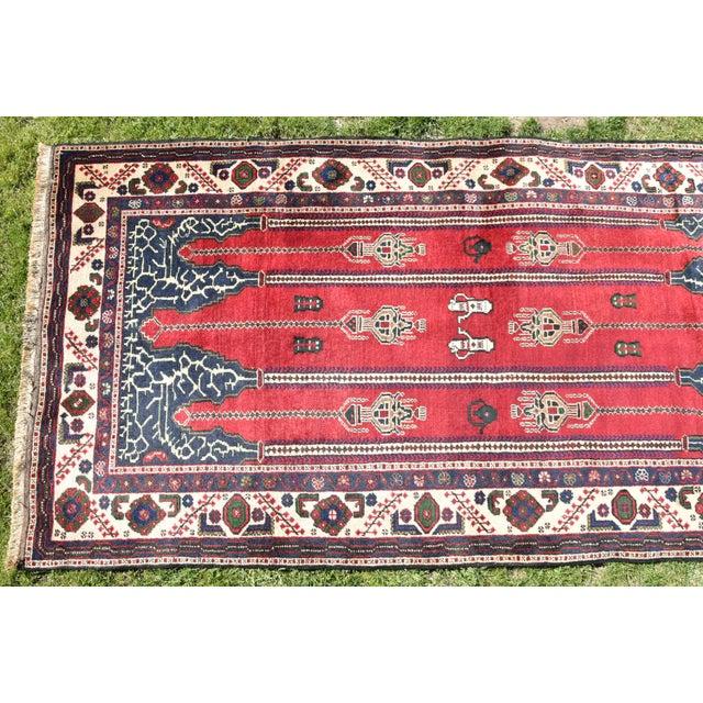 1960s Turkish Vintage Oriental Design Red-Blue Color Carpet - 4x8.5 For Sale - Image 5 of 12