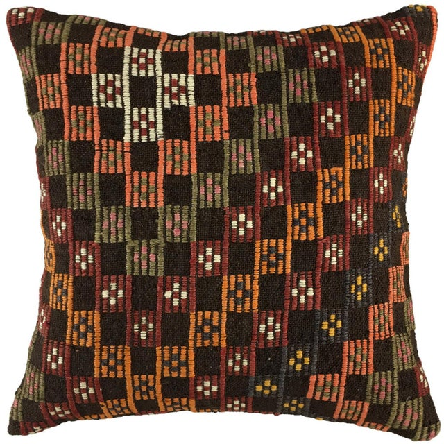 """Mid-Century Modern Contrasting Checkers Vintage Kilim Pillow 