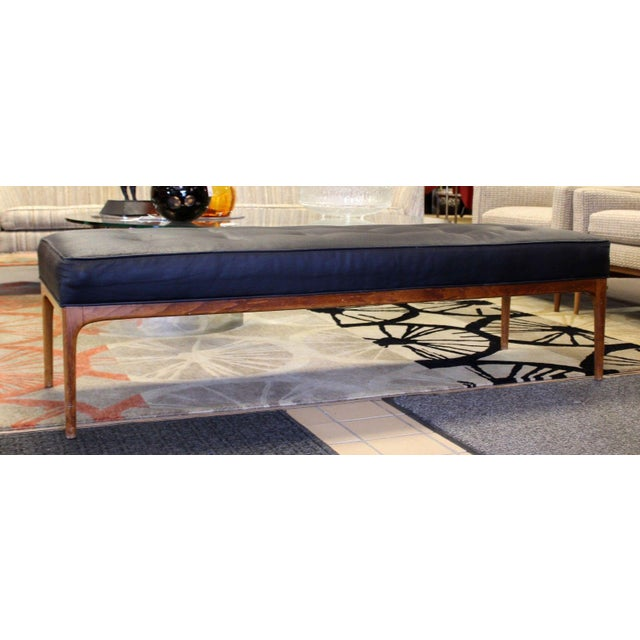 Mid-Century Modern Mid Century Modern 5 Feet Long Tufted Black Vinyl & Teak Wood Bench Seat For Sale - Image 3 of 7