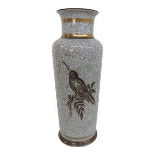 Royal Copenhagen Denmark Bird Mid Century Porcelain Crackle Vase For Sale