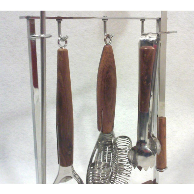 Walnut and Steel Bar Tools Set For Sale - Image 4 of 6