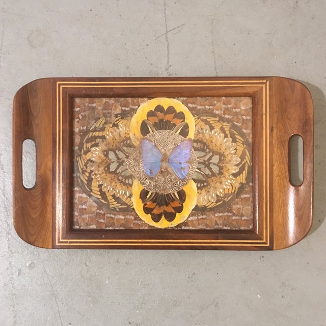 Animal Skin 1940's Art Deco Real Butterfly Wing Inlay Tray Platter For Sale - Image 7 of 8