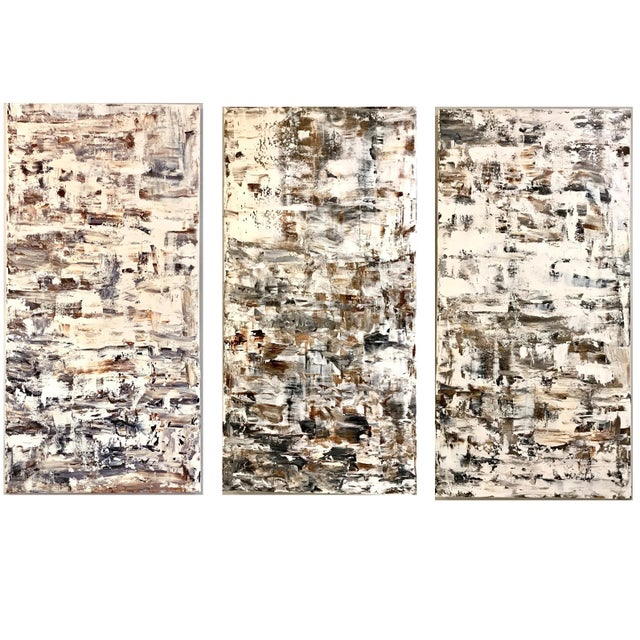 """Leila Pinto, """"Triptych Taupe Abstract"""" Acrylic On Canvas For Sale In New York - Image 6 of 6"""