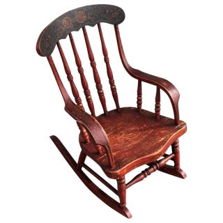 19th Century Original Red Paint Decorated Child's Rocking Chair For Sale