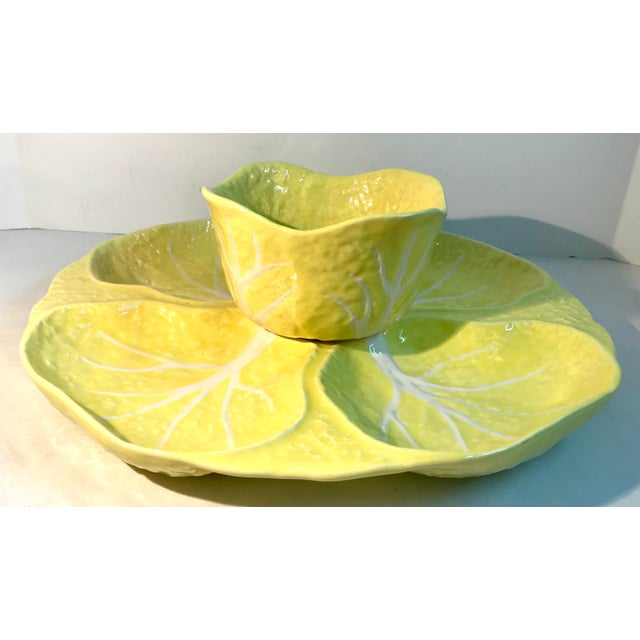 Yellow Vintage Portuguese Yellow Cabbage Majolica Serving Set For Sale - Image 8 of 8