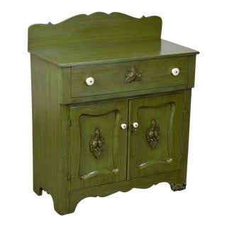Green Painted Antique Victorian Washstand For Sale