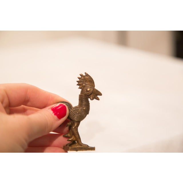 Vintage Dark Rooster Bronze Gold Weight For Sale - Image 4 of 4