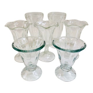 Vintage Ice Cream Parlor Sundae Mixed Glasses - Set of 6 For Sale