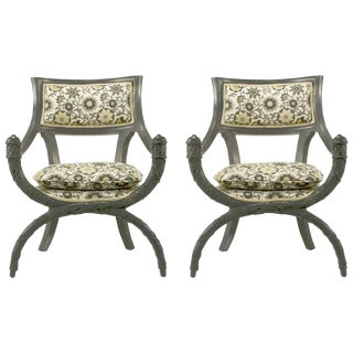 Pair of Carved Wood Curule Chairs in Slate Grey Lacquer For Sale