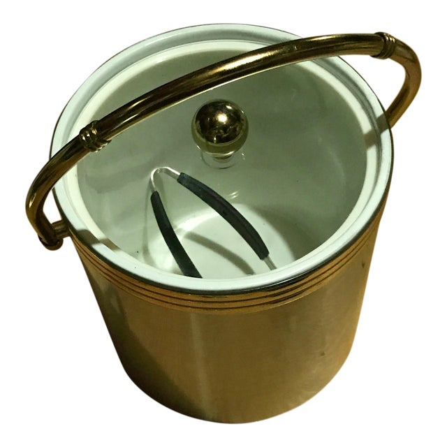 Aluminium & Gold Ice Bucket With Gold Bamboo Handle & Lucite Lid - Image 1 of 8
