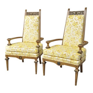 Pair Vintage French Hollywood Regency Italian High Back Gold Fireside Lounge Chairs