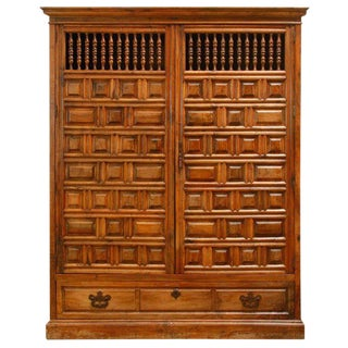 18th Century Spanish Baroque Walnut Armario Armoire For Sale